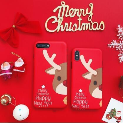 New Christmas Deer Santa Claus Printed TPU Case Cover for Iphone 6 7 8 Plus X Cases Gifts for Girls