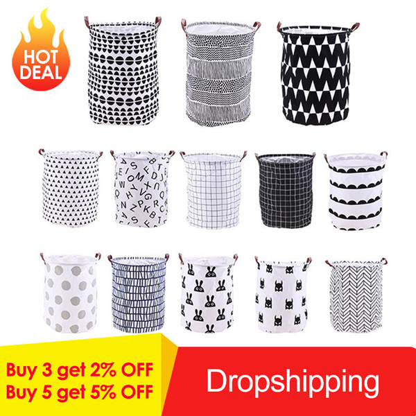 Home, Furniture & DIY Foldable Waterproof Cloth Laundry Basket Dirty Clothes Toy Storage Bag Holder UK Laundry Supplies