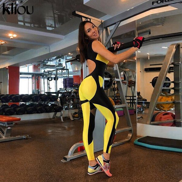 Kliou Women Yellow Patchwork Sporting Jumpsuits Elastic Skinny Fitness Bodysuit Female Sexy Backless Hollow Out Mesh Sportswear j190723