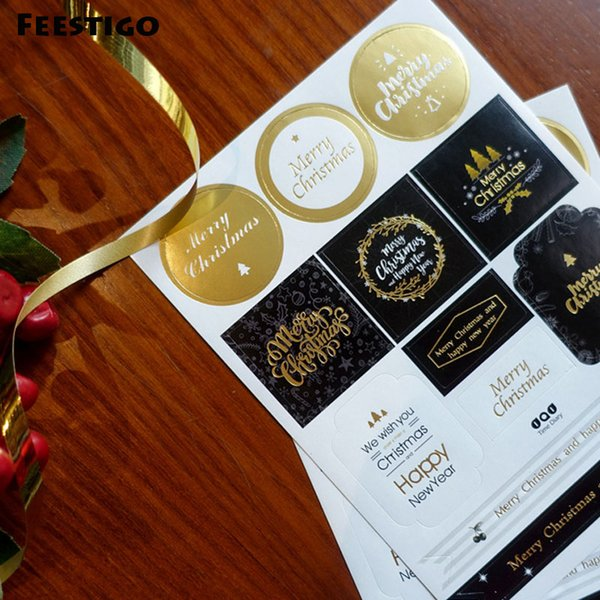 FEESTIGO 2PCS/Lot Christmas Decoration Gift Paper Stickers DIY Gift Tags Labels For New Year Presents Scrapbooking Post