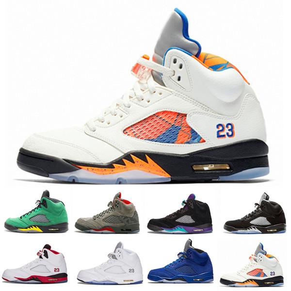 International Flight 5 White Grape Man 5s V Баскетбольные кроссовки Bred Alternate 90 Черный металлик Серебристый Oreo Спортивные кроссовки для кроссовок 41-47