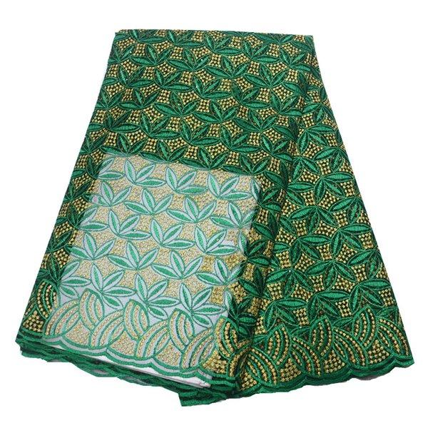 Yeşil afrika dantel kumaş 2019 yüksek kalite ile dantel işlemeli tül dantel afrika kumaş için parti 5 yards / adet