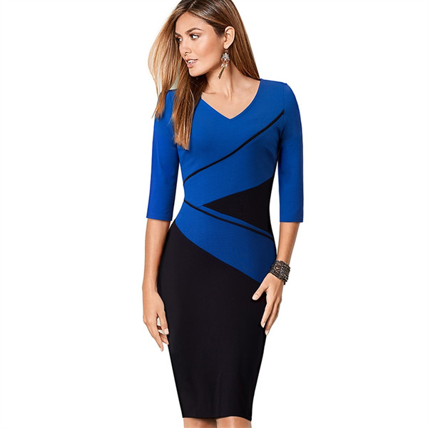 2019 Womens Elegant Optical Illusion Patchwork Contrast Slim Casual Work  Office Party Bodycon Plus Size Business Dress EB384 #396838 From Swtrade,  ...