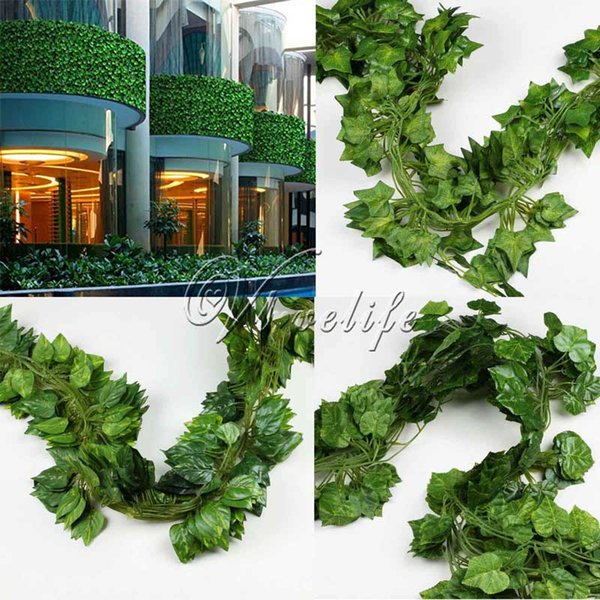 2 .3m 12pcs Artificial Plants Sleaf Rohdea Grape Vine Fake Foliage For Wedding Party Garden Plants Indoor /Outdoor Home Decor