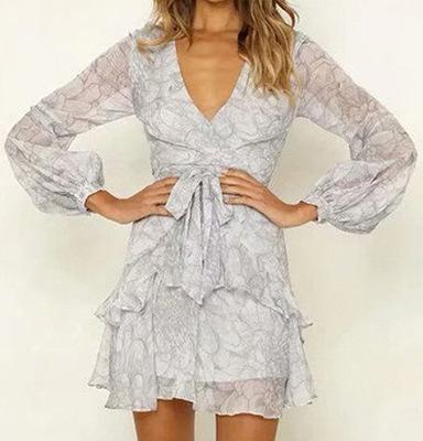 2019 été nouvelle robe populaire en Europe et aux États-Unis de la mode féminine tempérament lanterne manches robe de ceinture