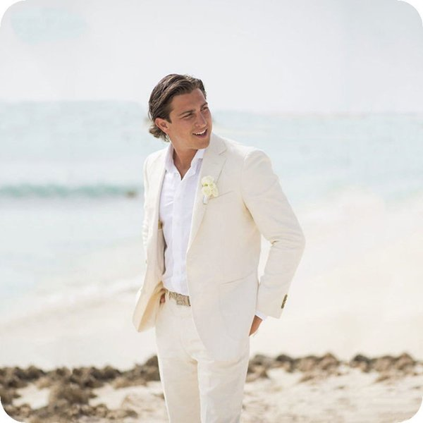 Summer Beach Ivory Linen Men Wedding Suits For Blazer Slim Fit Casual Prom Tailor Made Tuxedo Best Man 2pieces Costume C19041601