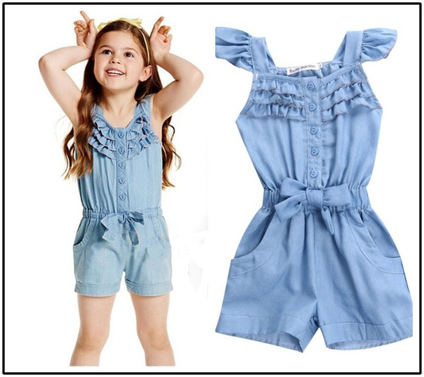 Hot Girls Denim Jumpsuit Romper Playsuit Wash Skinny Legs Girl Jeans Overall Casual Trousers