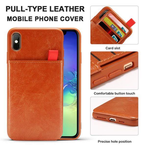Caja de cuero del teléfono de la PU para el iPhone XS Max XR 8 Plus Caja de la cartera Antideslizante Ranuras para tarjetas de crédito Cubierta protectora Opp bolsa