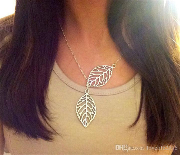 2019 Hot Fashion Double Leaves Pendant Necklace Gold & Silver Plated Chain Necklaces Women Party Fine Jewelry Good Gift A572