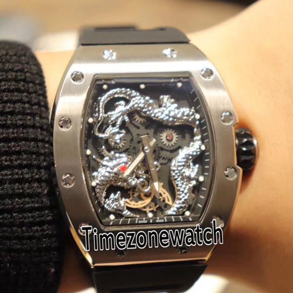 Nueva RM-57 057 Funda de acero Jackie Chan Esqueleto 3D Plata China Dragon Totem Dial Negro Miyota automático Reloj para hombre Goma Timezonewatch G13