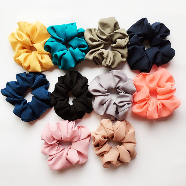 top popular 117 styles Lady girl Hair Scrunchy Ring Elastic Hair Bands Pure Color Leopard plaid Large intestine Sports Dance Scrunchie Hairband C6177 2020