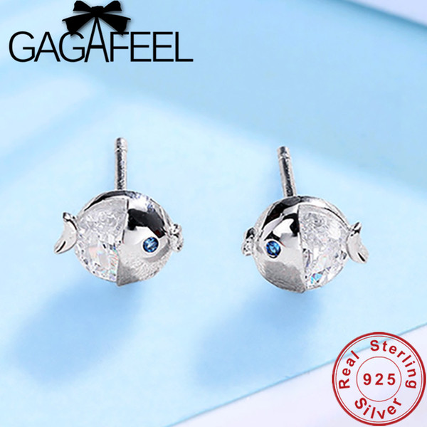Cheap Stud Earrings GAGAFEEL Cute 925 Sterling Silver Earrings Crystal Fish Stud Earring For Women Fashion Girl Silver Jewelry Drop Shipping
