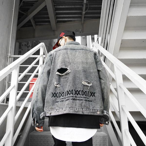 Мужские джинсовые куртки High Street Brand куртки с вышитыми роскошными буквами мыть отверстия для воды старый стиль дизайнер джинсовая куртка