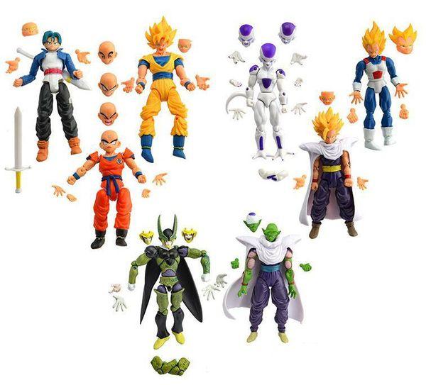 [Funny] 8pcs/lot Joints activities Dragon Ball Z Super Saiyan Goku Son Gokou Trunks Chiao-tzu Piccolo Freeza PVC Action Figure Y190529