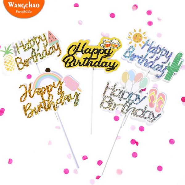 Güneşli Gökkuşağı Balon Dondurma Meyve Mutlu Doğum Günü Pastası Topper Yaz Parti Eğlence Tema Kek Dekorasyon Parti Malzemeleri
