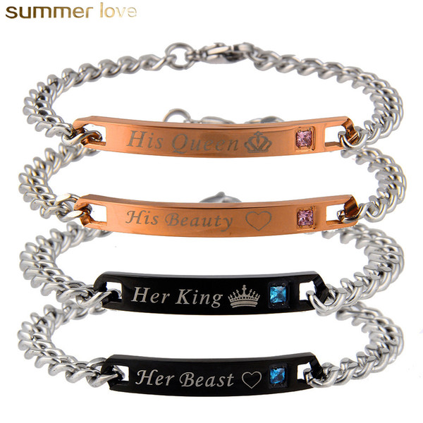 Hot Sell Romantic Love Couple Bracelets Stainless Steel Crystal Bracelet For Lovers His Queen Her King High Quality Jewelry Gifts
