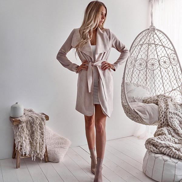 Lace Up Strickjacke Langarm Trenchcoat Frauen Großen kragen Elegante Vintage Mäntel Tasche Lange Oberbekleidung Mode Herbst Winter Neu