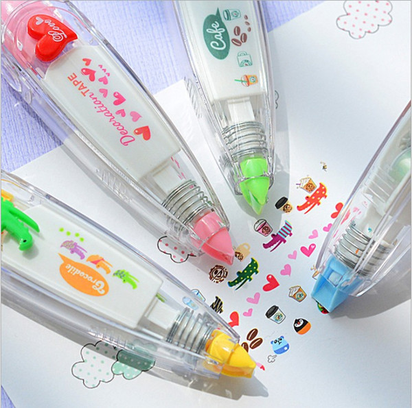 Doux floral stylo bande autocollant drôle enfants papeterie décor bandes étiquette Creative Cartoon presse papier Ceinture Correction Papeterie Décoration
