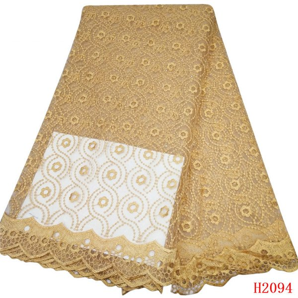 Champagne Gold French Lace Tulle Fabric 2019 African Cheap Price Silver Thread Embroidered Nigerian Lace Fabric X2094