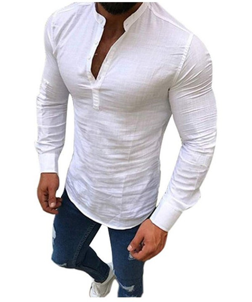2019 leisure time cotton gym New Fashion, Loose Fashion, New All-cotton Bamboo Sleeve T-shirt, Button Men's Top