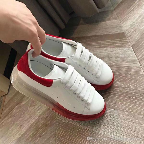 2019 nuevos zapatos de los hombres de color Broad Tipo Crystal verano de las mujeres inferior Cordón Piel solo zapato mollete inferior grueso Ocio Zapatos blancos