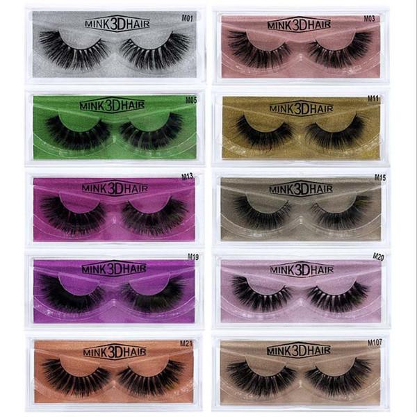 100Pairs Natural Mink False Eyelashes Lashes Long Makeup Hand Made 3D Eyelash Extension Eyelashes Colorful Paper Card