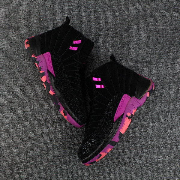Yüksek Kalite 12 Doernbecher Freestyle Erkekler Basketbol Ayakkabı Sneakers 12 s DB Carissa Hiper Menekşe Siyah Mor Kutu Ile Spor Eğitmeni