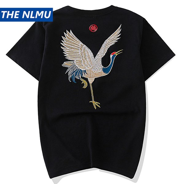 Hip Hop Chinese Style Crane Embroidery T-shirts Men Streetwear O-Neck Cotton White tshirts Summer 2019 Tops Tees for Male