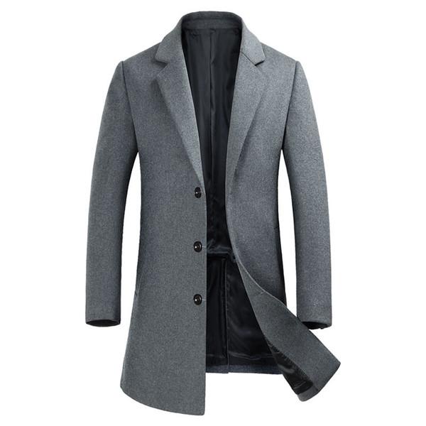 Herren Wolle Trenchcoat Business Casual Winter Warme Lange Windjacke Grau Slim fit Mantel Fashion Outwear 2019 Neue Männliche Kleidung