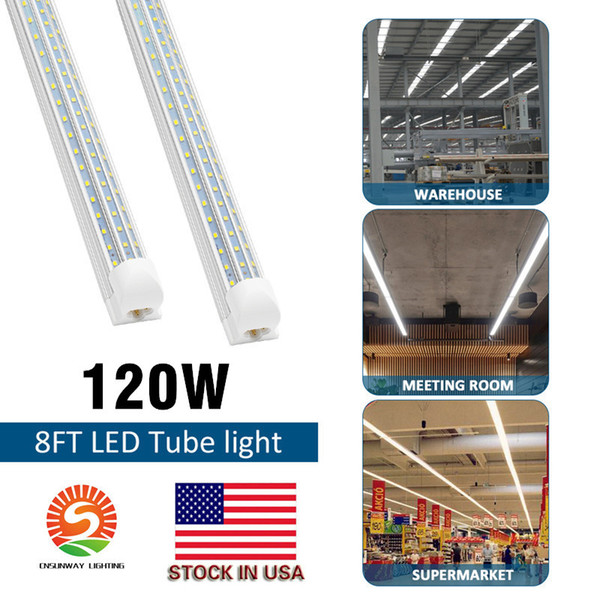 best selling led tube lights 120W 8ft 4ft 60W Integrated T8 Tube Lights SMD2835 110lm W High Bright Frosted Transparent Cover AC 85-265V UL DLC