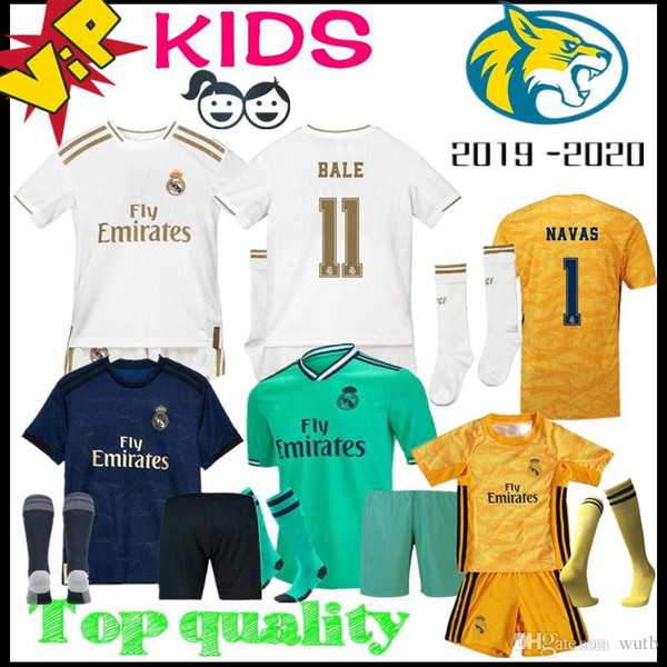 Реал Мадрид 2019 Детский комплект футбол Джерси 2020 дома вратарь футбольные майки 19 20 Иско Асенсио Бэйл Кроос ребенок 3-й футбол рубашки