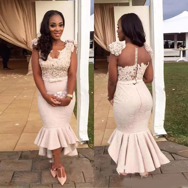 2019 African Sexy Deep V-Neck Satin Mermaid Bridesmaid Dresses Sheer Back Short Sleeves Cheap Plus Size Arabic Long Evening Gowns