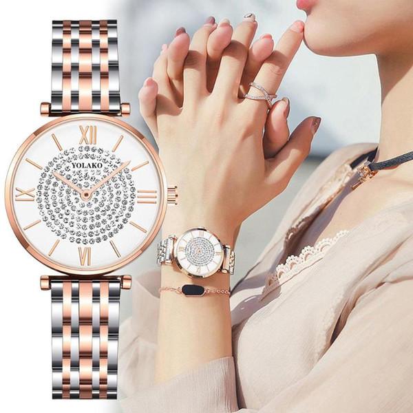 YOLAKO Women's Watch 2019 Rhinestone Watches Ladies Casual Rose Gold Quartz Clock Magnet Clock Watch Women