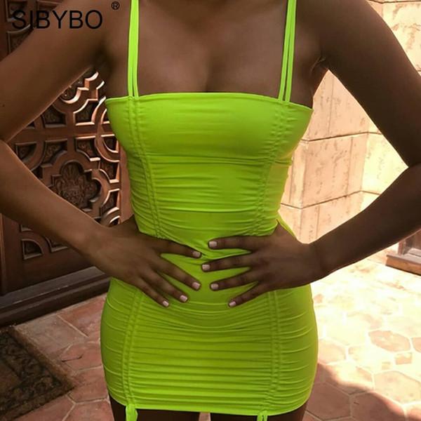 YIBO Sexy Backless Summer Bodycon Dress 2018 Yellow Spaghetti Strap Sleeveless Women Club Bandage Dresses Vestidos Party