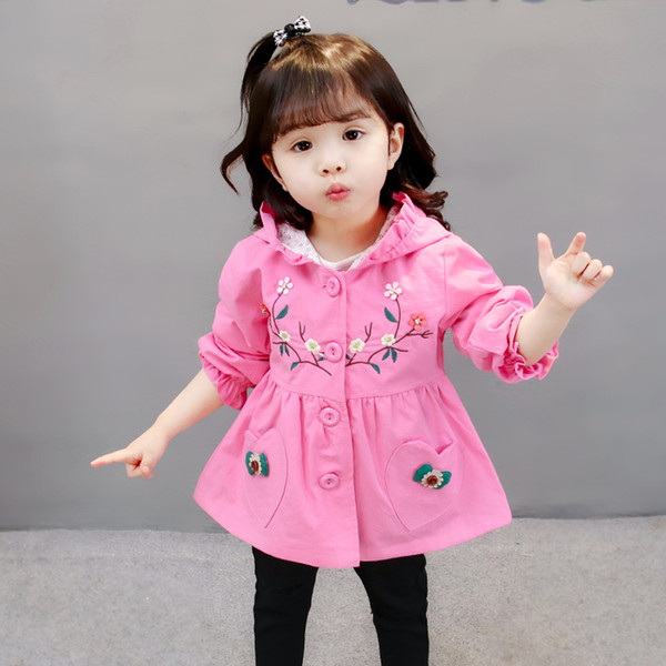 Solid Cute 2019 Pink Girl Clothing Jackets Coats Fashion New Casual Girl Outerwear Long Sleeve O-neck Kid Children Clothes jk188