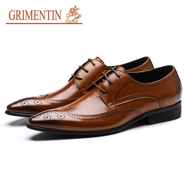 GRIMENTIN Hot sale Italian fashions men oxford shoes 2019 new mens dress shoes genuine leather formal business wedding party male shoes AST