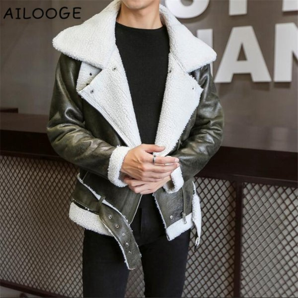 2018 Harajuku Fashion Thick Warm Winter Stylish Mens Leather Jackets Designer Suede Bomber Jacket Parka Cool Men's Faux Fur Coat
