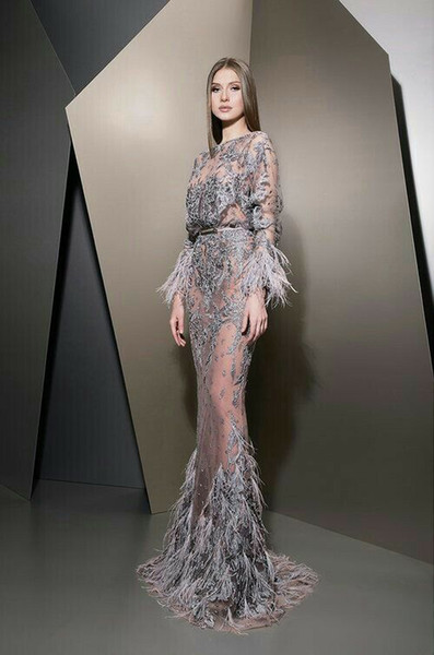 Evening dress Ziad naked Elie saab Yousef aijasmi 2018 Long sleeve Mermaid Feather Crystal Appliques Long dress Zuhair murad Kylie Jenner 90