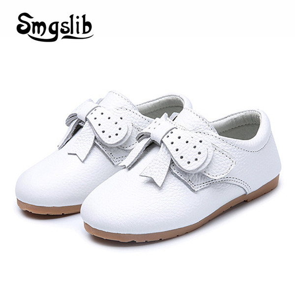 Girl Shoes Kids Genuine Leather Shoes Princess Party Sneaker Children School Toddler Solid High-quality Flat Bow Casual Loafers
