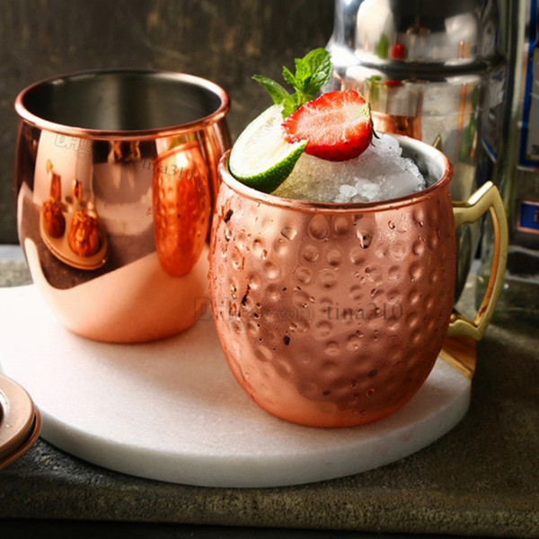 2 style Moscow mule mug 550ml stainless steel hammer cup beer iced coffee tea hammer drum cocktail glass T2I5055