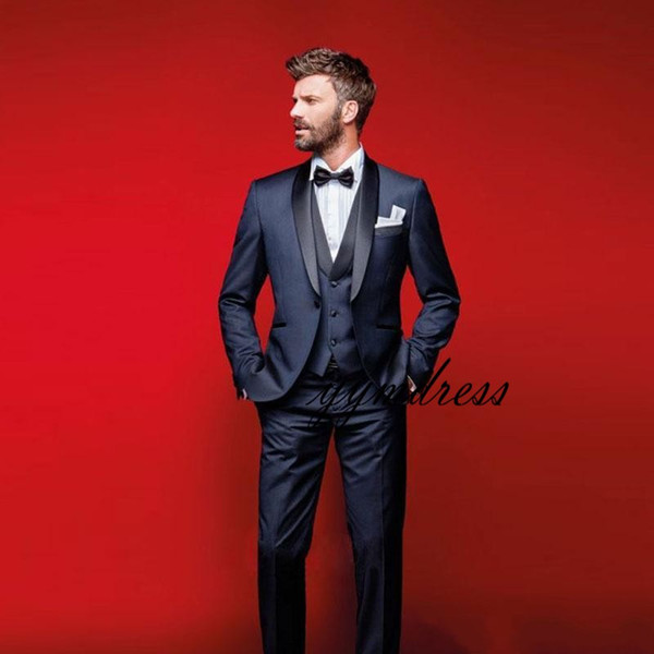 2019 Navy Blue Wedding Tuxedos Slim Fit Suits For Men Groomsmen Suit Three Pieces Cheap Prom Formal Suits (Jacket +Pants+Vest+Bow Tie)
