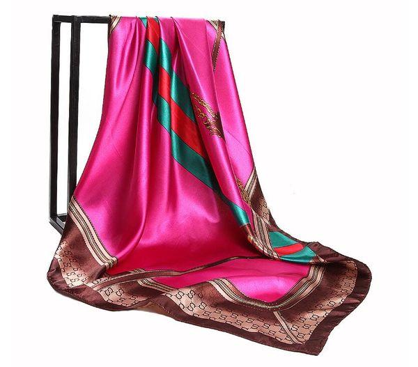 Bandana Women Hijab Scarf Fashion Retro Ladies Silk Scarf Chain Print Pattern 90*90cm Large Square Scarf Beach Cape Headscarf