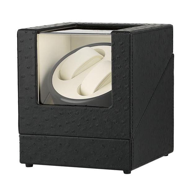 Finestrino di nuova finitura Finisher singolo orologio Pratico scatola di visualizzazione in pelle nera PU Motori silenziosi Orologi automatici Orologio avvolgitore