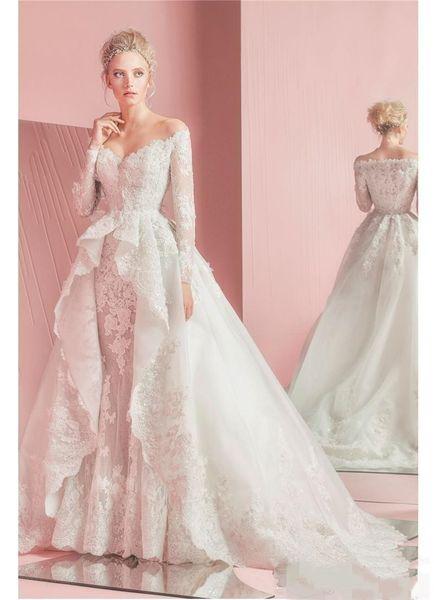 Modest Zuhair Murad Plus Size Mermaid Wedding Dresses with Detachable Train Lace bridal gowns Vestidos de novia robes de mariée