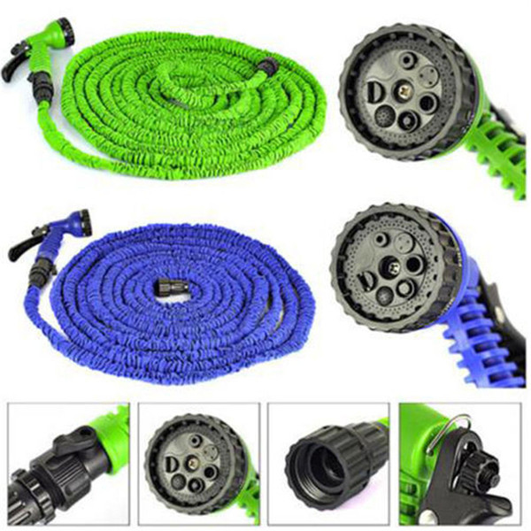 best selling Garden Hose Car Wash Pipe 25FT 50FT 75FT 100FT Flexible Garden Water Hose With Spray Gun Retractable Watering Telescopic Rubber Hose