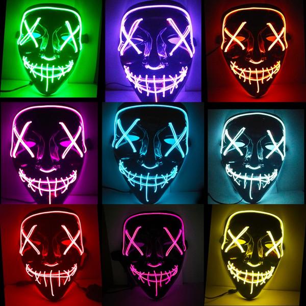 Хэллоуин Маска Светодиодный Маске Загораются Неоновые Маски Маска Косплей Тушь Ужас Mascarillas Светящиеся В Темноте Маска