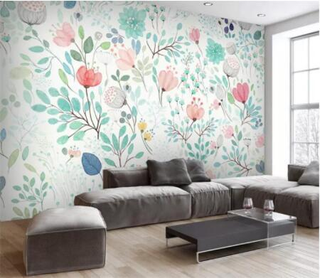 Carta da parati floreale 3D Murale Piccoli fiori freschi Murales Adesivi murali Rotoli di carta Nursery Soggiorno Sfondi
