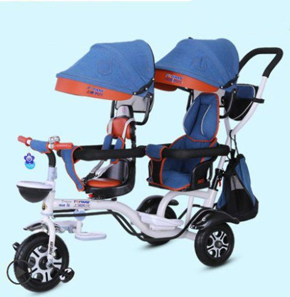 ceb9336f3 Compre Doble Triciclo Infantil Cochecito Doble Segundo Niño Dos ...