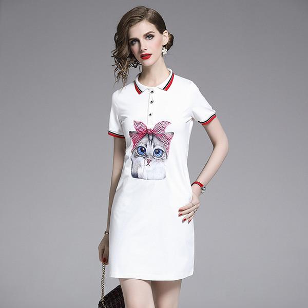 European Station T-shirt skirt 2019 Summer New Slimming Skinny Pocket kitten print lapel European and American dress Girl