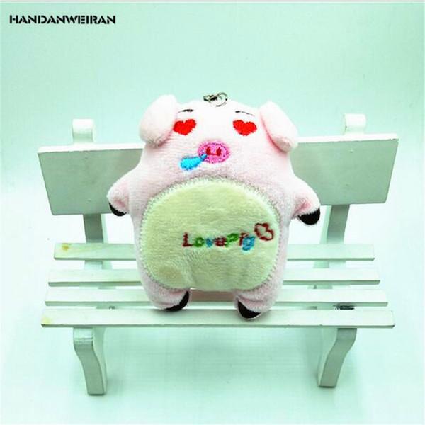 HANDANWEIRAN 1Pcs HOT 10CM Super Cute Piglet Doll Stuffed Plush Toys Lovely Couple Pig Keyring Pendants Plush Toy Valentine Gift